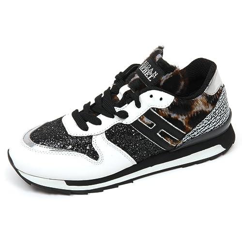 C8412 sneaker donna HOGAN REBEL R261 scarpa bianco/nero glitter shoe woman