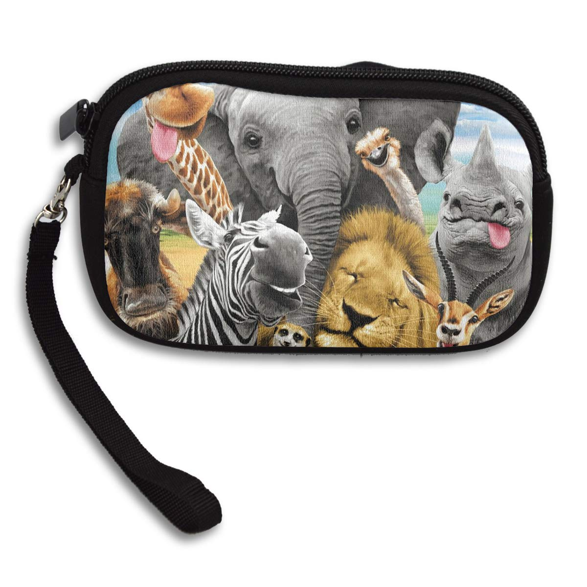 Coin Purse African Safari Animals Selfie Coin Pouch With Zipper,Make Up Bag,Wallet Bag Change Pouch Key Holder