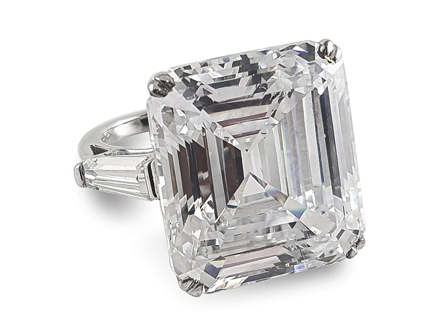 Adastra Jewelry 925 Sterling Silver 35 ct Asscher Baguette Elizabeth Taylor inspired Solitaire engagement Ring Rapunzel Collection Jewelry Size 12 and half sizes