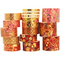 YUBX 15 Rolls of Washi Tape Decorative Paper Masking Tape for Scrapbooking, Craft and DIY (Fierce Flowers)