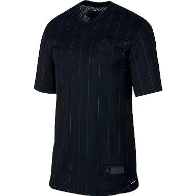 4986e65dca1057 Jordan Air Retro 9 Men s Sportswear Jersey Shirt Black Grey ah9909-010 at  Amazon Men s Clothing store