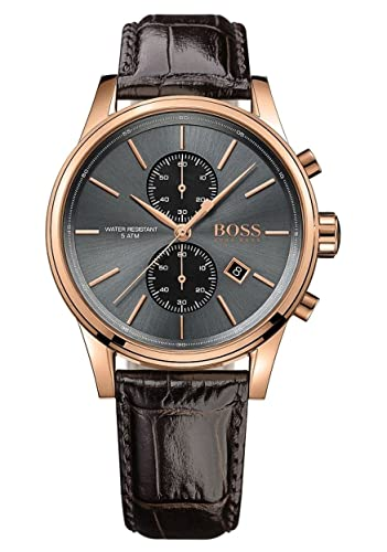 727d23f33 HUGO BOSS Men's Chronograph Quartz Watch with Leather Strap - 1513281: Hugo  Boss: Amazon.co.uk: Watches
