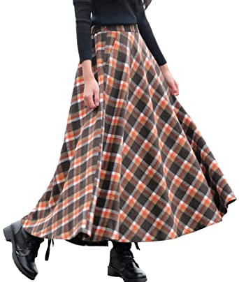 8538e2b3f9 Femirah Women's Maroon Thick Vintage Plaid Pleated Skirt Autumn Winter Long  Skirts (Length 90cm/
