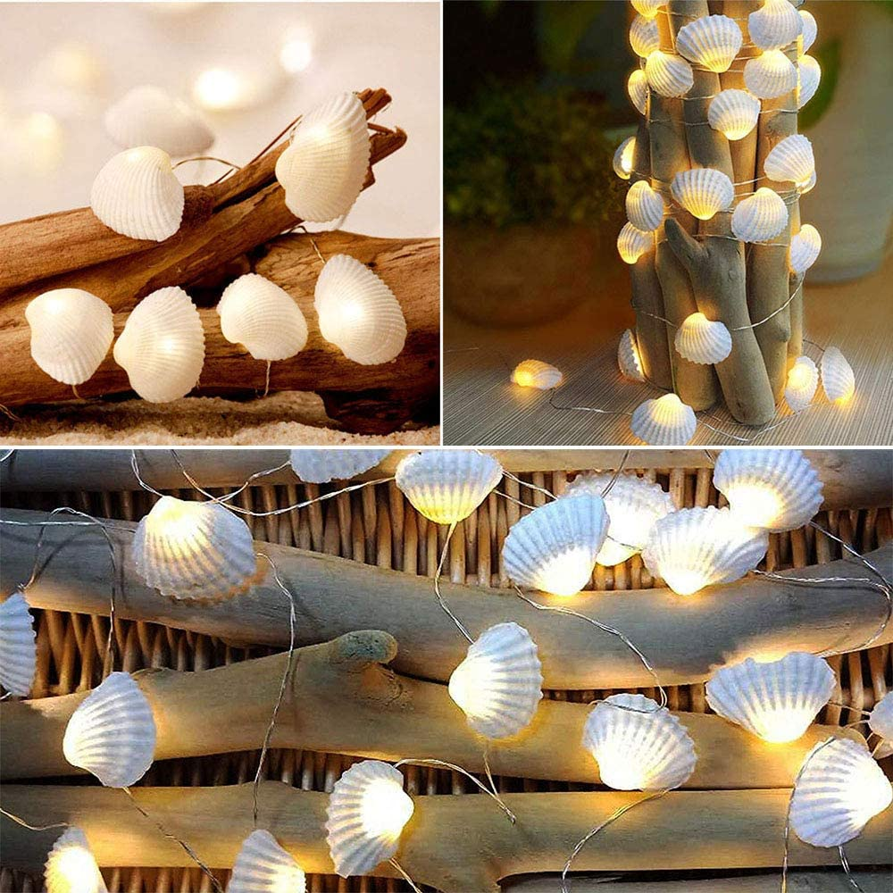 SunKite Seashell String Lights, 8 Modes 13.85 Ft 40 Natural Beach Decor Lights LED Waterproof Battery Operated Ocean Flickering Fairy Lights (Seashell)