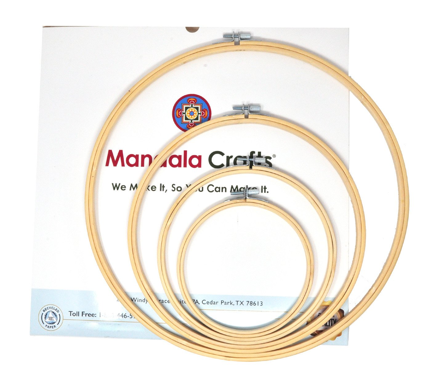 Mandala Crafts 4 Mini Large Bulk Circle Round Bamboo Cross Stitch Embroidery Hoop Frame Set (5, 7, 9, 12 Inches)