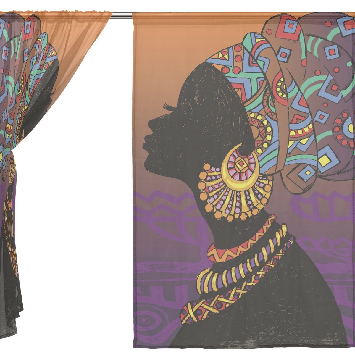 ALAZA Voile Sheer Window Curtain Silhouette African Girl with Earrings Door Way Tulle Curtain Drapes Panels for Living Room Bedroom Kitchen 55x78 inch Set of 2