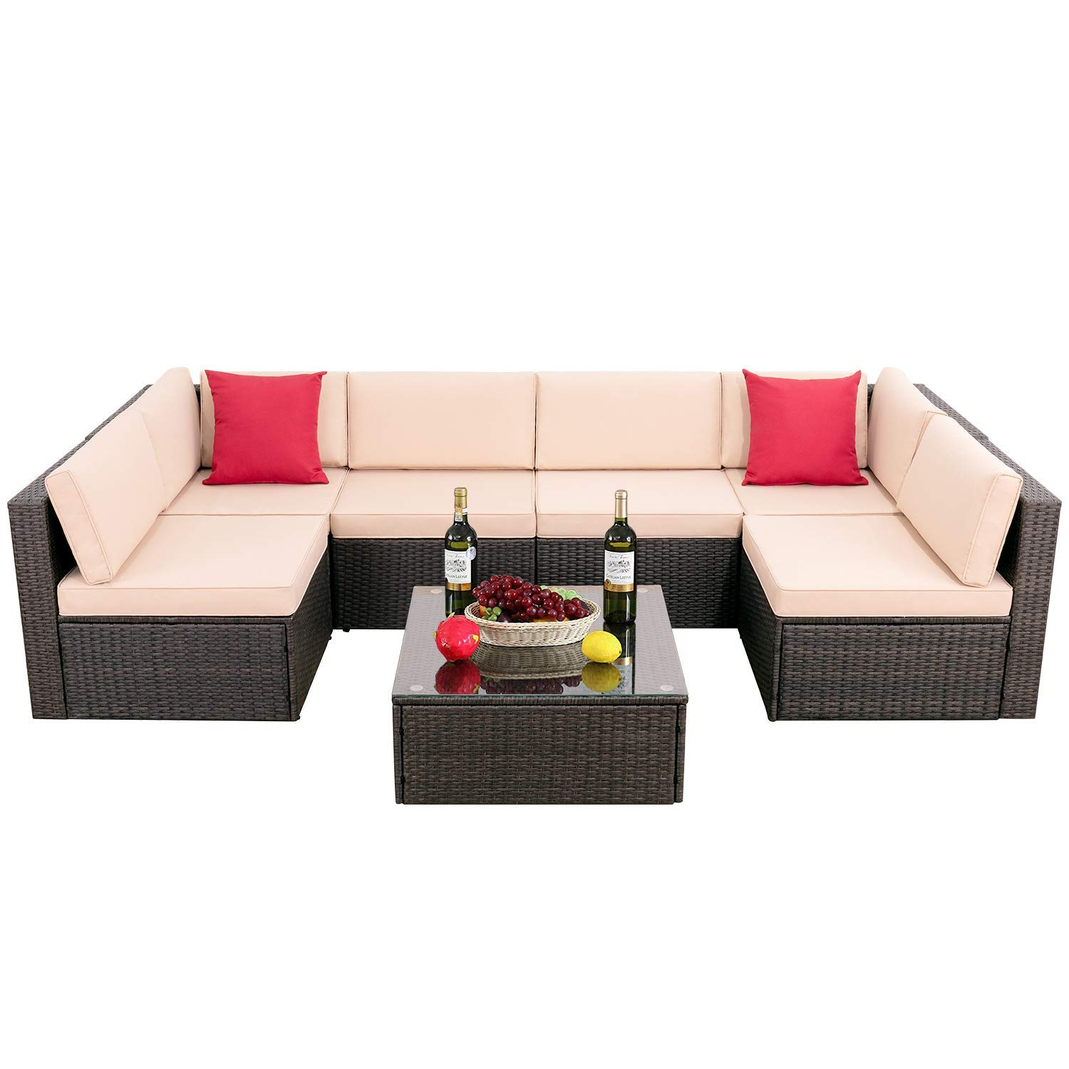 Devoko 7 Pieces Outdoor Sectional Sofa All-Weather Patio Furniture Sets Manual Weaving Wicker Rattan Patio Conversation Sets with Cushion and Glass Table Brown