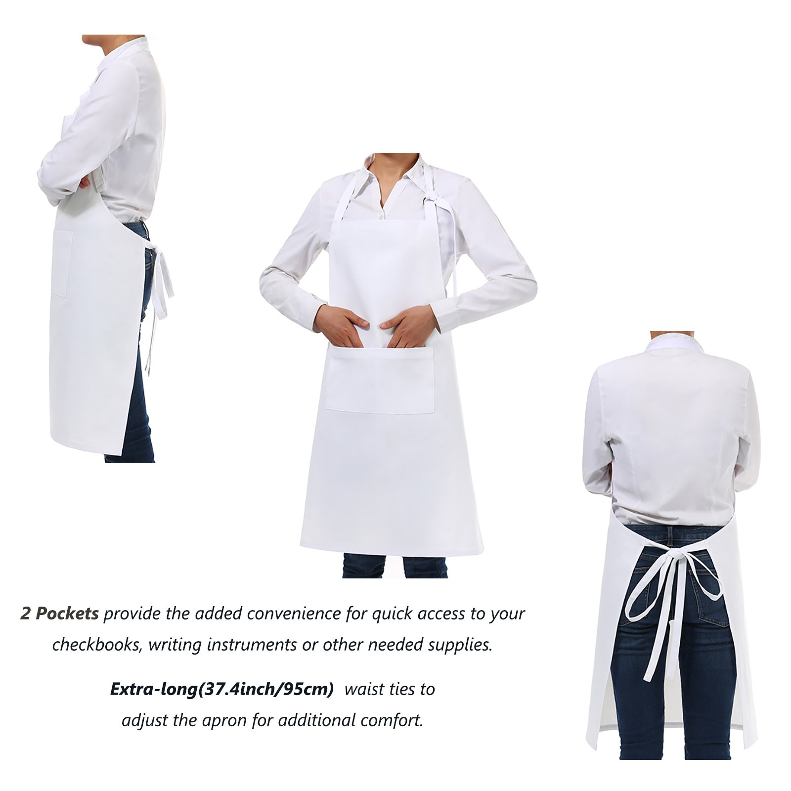 VEEYOO Adjustable Chef Bib Apron with 2 Pockets, Set of 2, Durable Spun Poly Cotton, Cooking Kitchen Restaurant Uniform Aprons for Men Women, 32x28 inches, White by VEEYOO (Image #4)