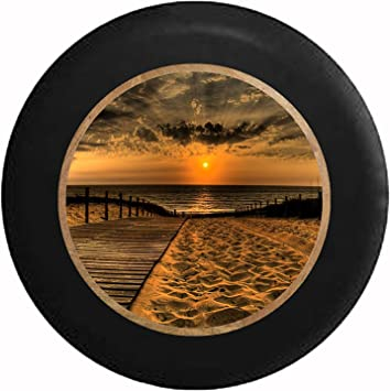 Full Color Carribean Reaching Palm Trees White Sand Tropical Beach Vacation Spare Tire Cover Black 31 in