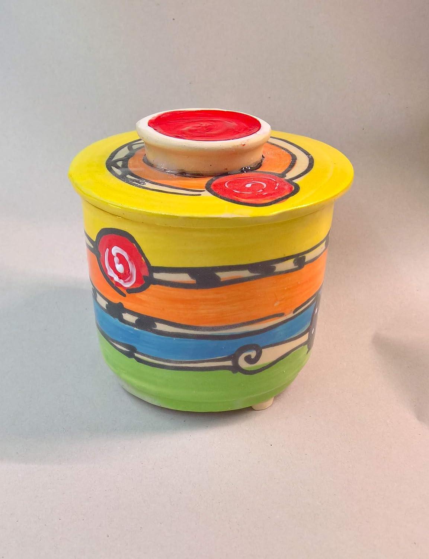 franz/ösische Wasserbutterdose Keramik f/ür 250g Butter in crazy
