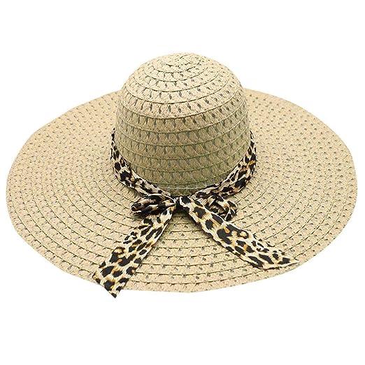 49c70a699 Amazon.com: Hat Bummyo Casual Hat Sun Hat Beach Hat Women Leopard ...