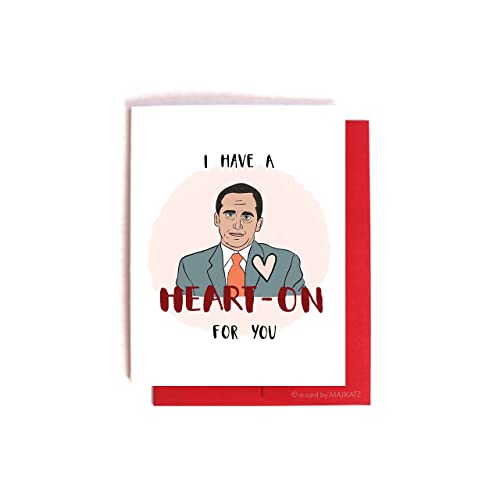 Michael Scott Heart On Funny Nerdy The Office Valentineu0027s Day / Anniversary  Card