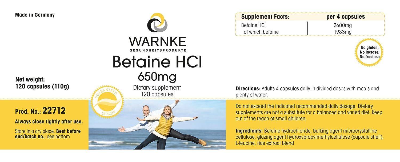 Betaína HCL - productos para la salud Warnke - 650mg - 120 cápsulas: Amazon.es: Salud y cuidado personal