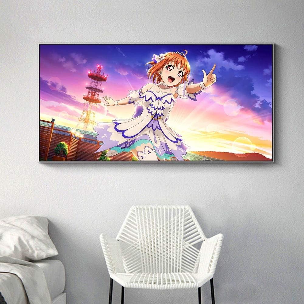 KWzEQ Póster de Anime Mural de niña decoración de Lienzo Moderna impresión de Arte decoración de habitación de niña en casa,30X60cm,Pintura sin Marco