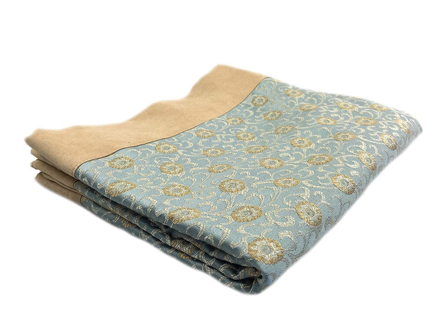 Koni Bed Throw, Blue, Tan and Gold, Suede Edge, Blue King 100x40 in.