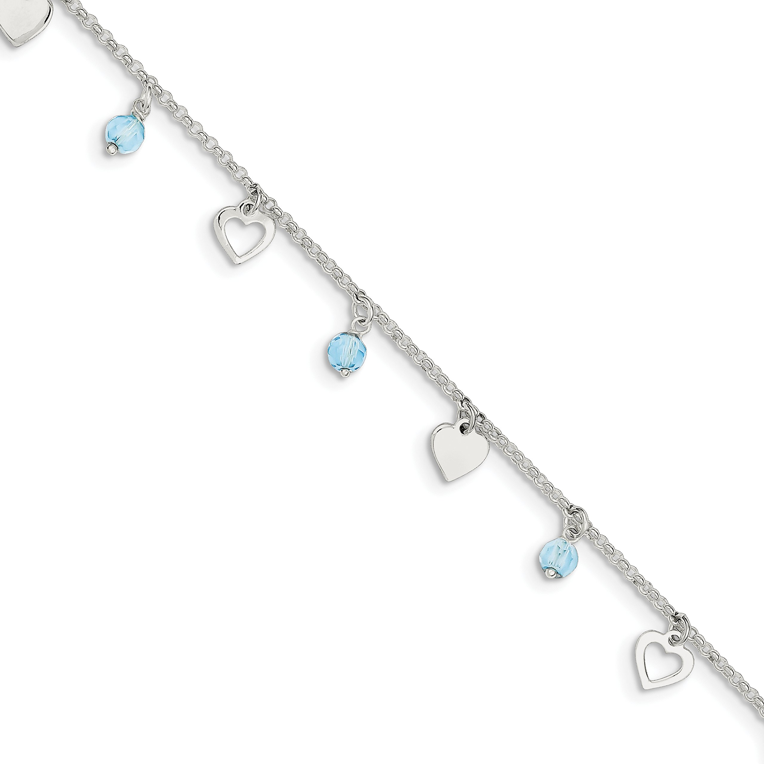 Diamond2Deal 925 Sterling Silver Heart and Blue Glass Anklet 9inch