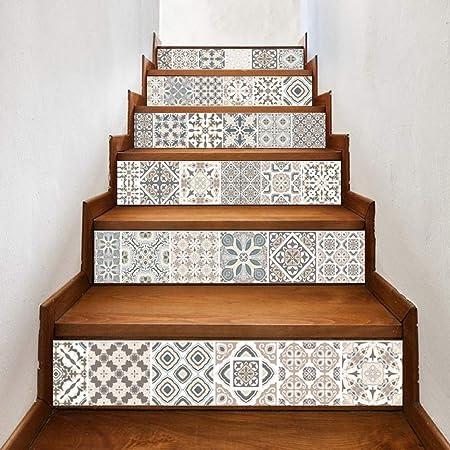 YOODECOR Pegatinas de Escalera Pasos de Bricolaje Pegatina Escalera extraíble Pegatina decoración para el hogar baldosas de cerámica Patrones: Amazon.es: Hogar
