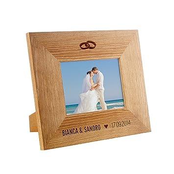 Amazon De Bilderrahmen Mit Gravur Zur Hochzeit Motiv Ringe