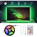 TV LED Backlights Strip Lights, TASMOR 6.56ft 5050 RGB Light Strip Music Sync USB TV Backlight with Remote IP65 Waterproof Color Changing Lights for 24 Inch-60 Inch TV,PC, Mirror