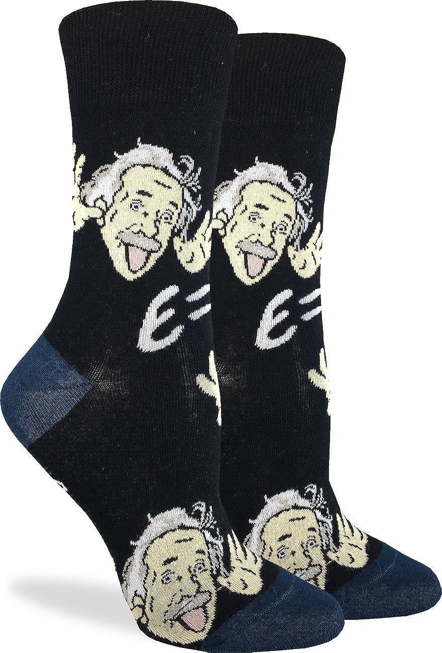 Good Luck Sock Women's Wacky Einstein Socks - Black, Adult Shoe Size 5-9 3120