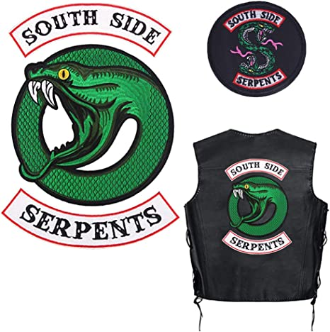 "Riverdale TV Series South Side Serpents 3 Piece Iron On 14/"" Jacket Patch Set"