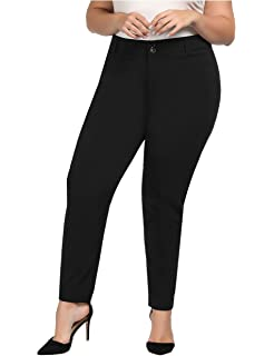 Chicwe Women s Plus Size Stretch Texture Solid Casual Pants with Pockets -  Casual and Work Pants 2111e03b5930