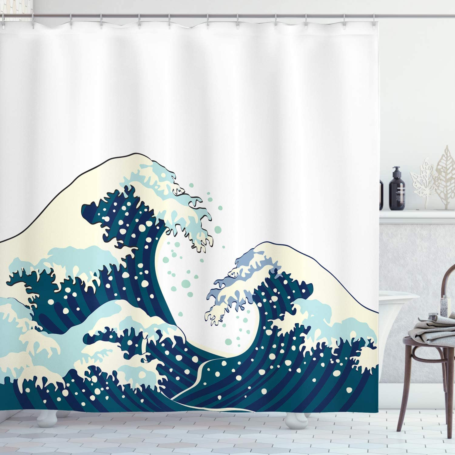 Oriental Vintage Great Wave Monochrome Kanagawa Inspired Antique Art Fabric Bathroom Decor Set with Hooks 70 inches Ambesonne Japanese Wave Shower Curtain Navy Blue