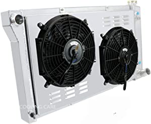 CoolingCare For 1967-1972 Chevy&GMC C/K Series 10 20 30 Pickup Truck Suburban, 3 Row Core Aluminum Radiator w/Shroud Fans