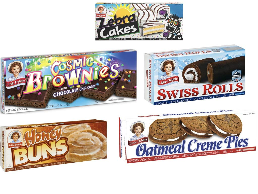 Little Debbie Variety Pack! Oatmeal Creme Pies, Cosmic Brownies, Swiss Rolls, Zebra Cakes and Honey Buns (1 Box Each) by Philly Favorites