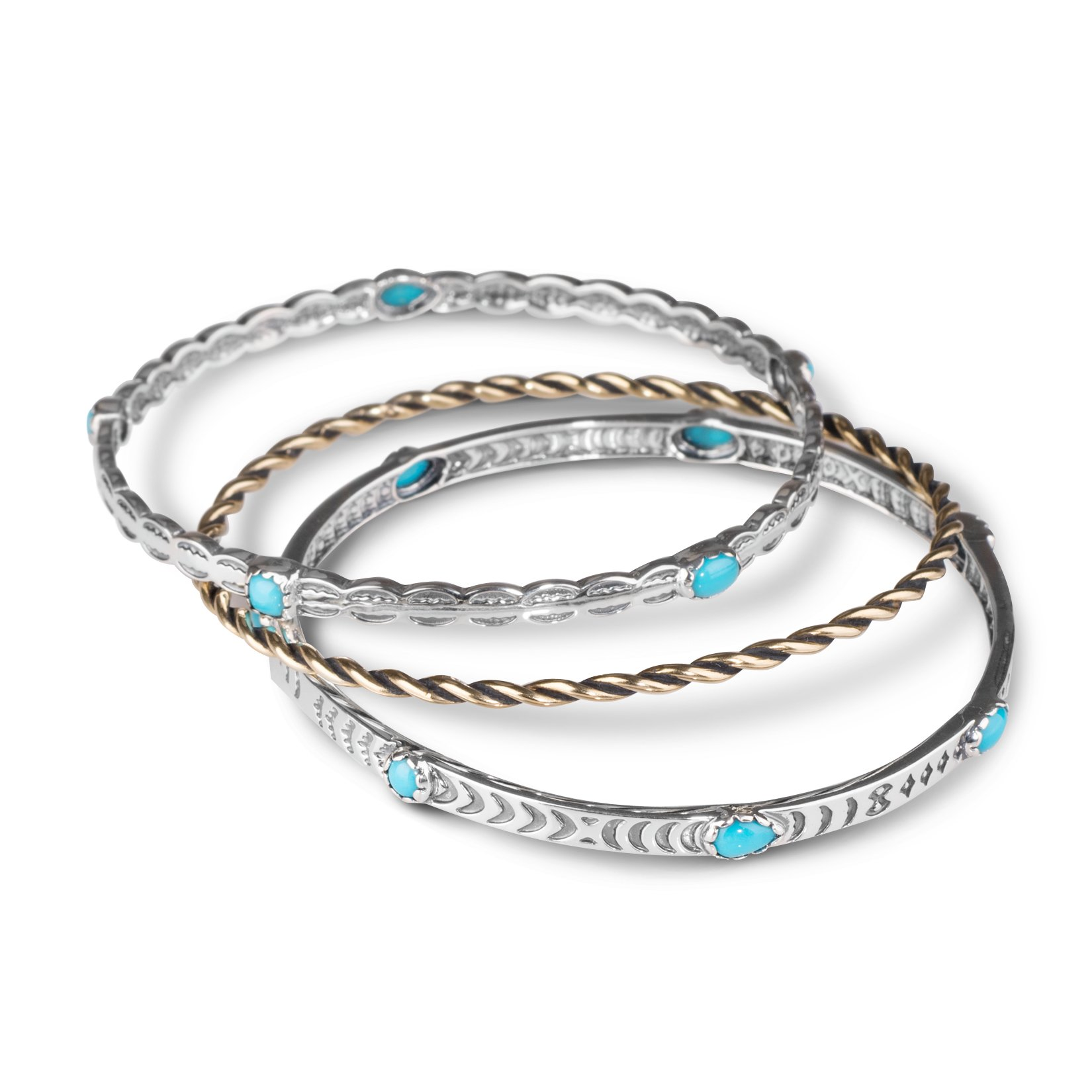 American West Sleeping Beauty Turquoise Set of 3 Bangle Bracelets