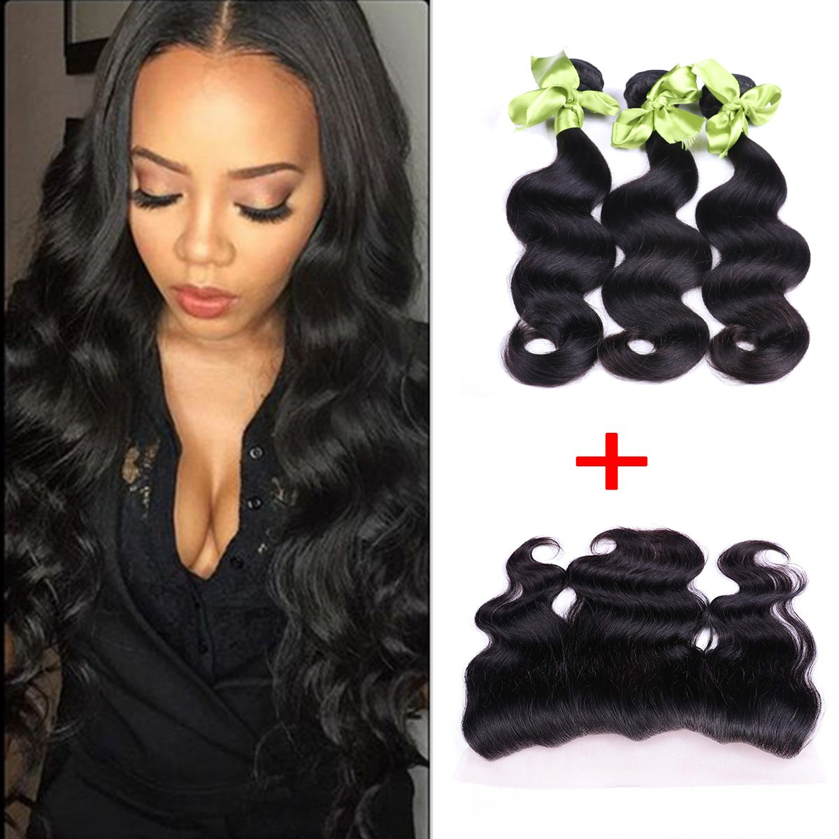 IUEENLY Brazilian Body Wave 3 Bundles With Frontal Free Part 13x4 Ear To Ear Lace Frontal Closure With Bundles Brazilian Virgin Human Hair Frontal (20 20 20+18inch) by IUEENLY