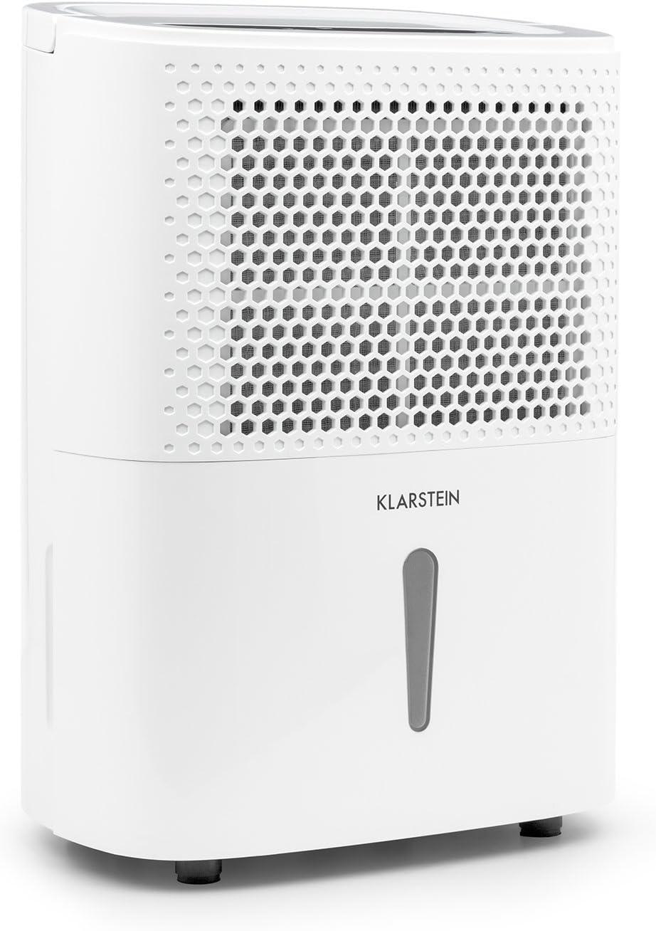 R/églage Niveau dhumidit/é 20 L//24h Puissance 420W Pi/èces de 40-50 m/² Blanc jusqu/à 125 m/³ R/éservoir deau de 5L KLARSTEIN DryFy 20 D/éshumidificateur dair Minuterie