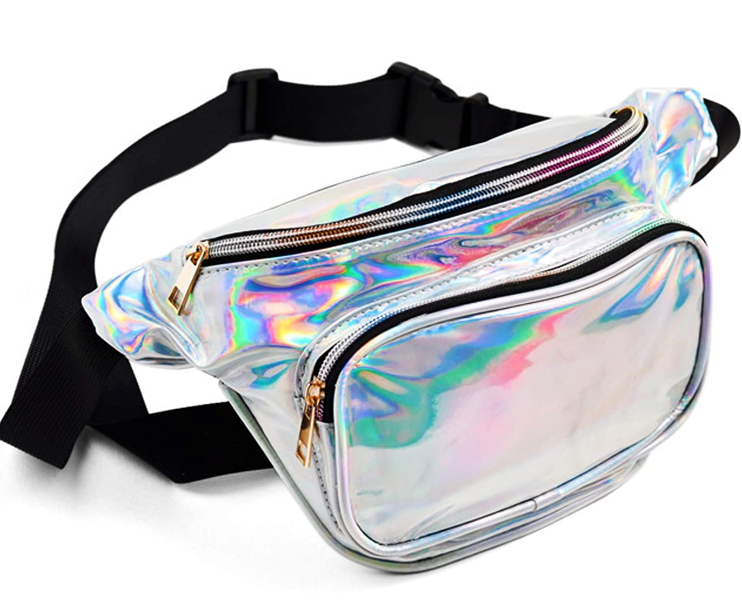 FANNYFAM Cute Holographic Fanny Pack - 80s Retro Vintage Style Waist Bag - Shiny Silver Metallic Iridescent. Unisex.