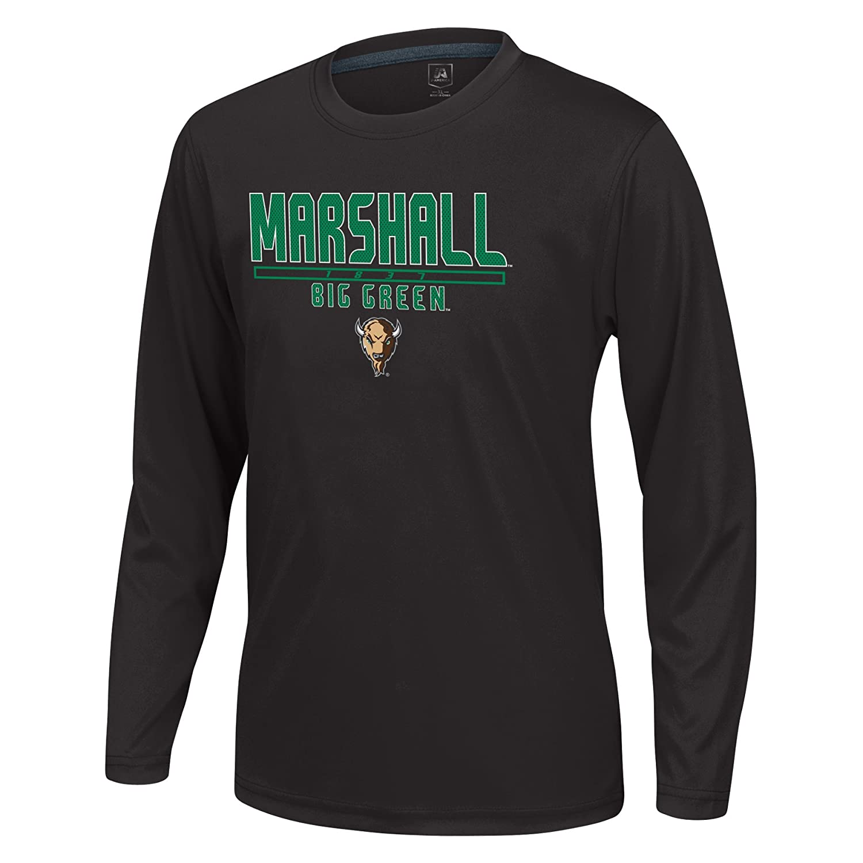 Large J America NCAA Marshall Thundering Herd Boys Youth School Slogan Long Sleeve Callout Poly Tee Black