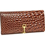Budd Leather European Crocodile Bidente Continental Slim Clutch Wallet
