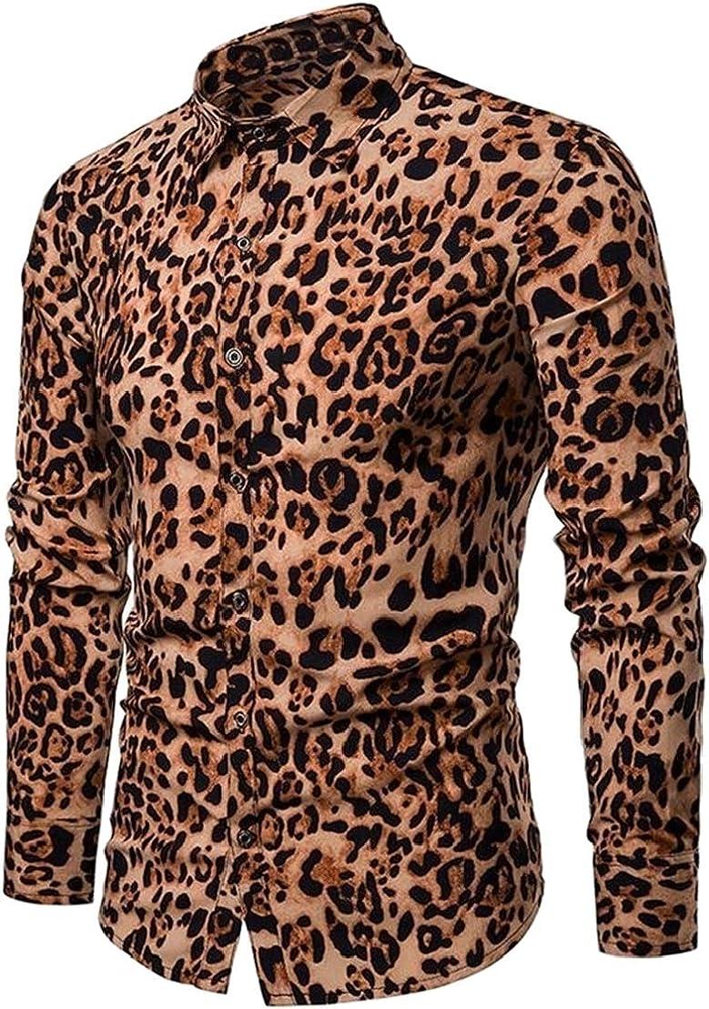 UUYUK Men Leopard Print Club Long Sleeve Classic Buttons Shirts