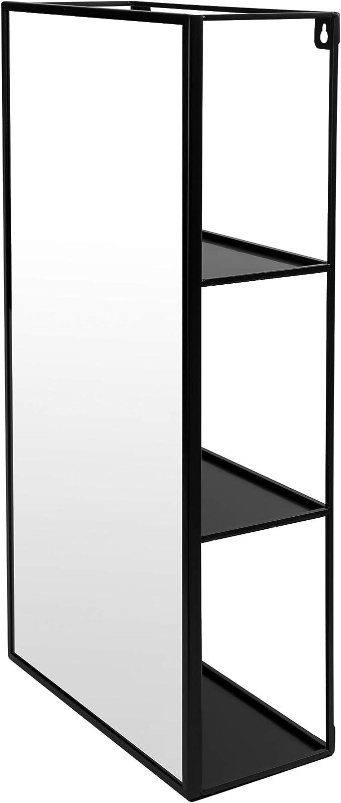 Moderne Wand Dekoration und geometrisches Wandregal Gro/β Umbra CUBIKO WANDSPIEGEL MIT ABLAGE SCHWARZ Metall 61 x 31 x 13 cm /& Cubist schwebendes Regal mit integriertem Pflanzentopf Schwarz