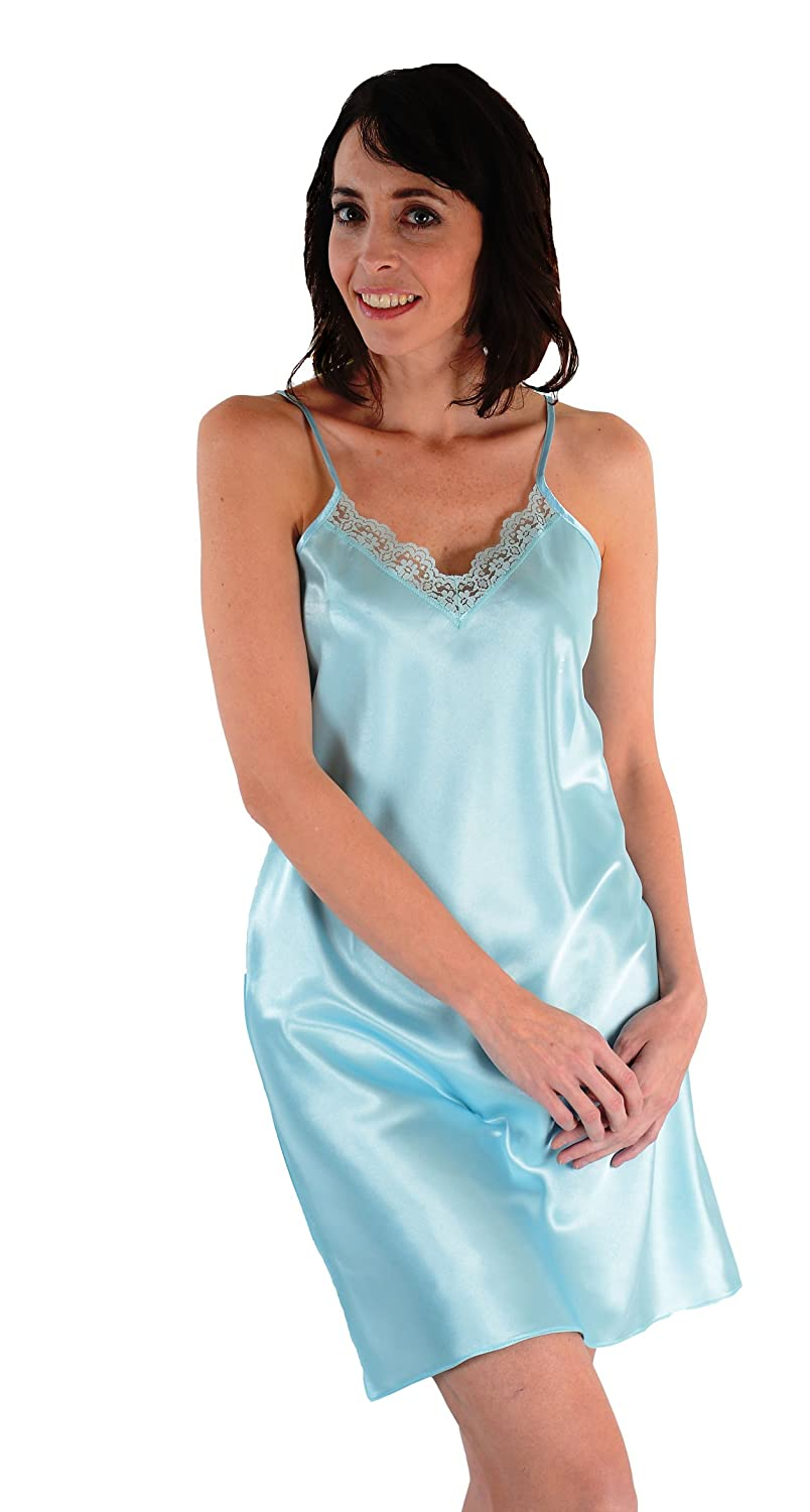 582c31ba08 Classic satin chemise with matching lace five color choices at amazon womens  clothing store nightgowns jpg