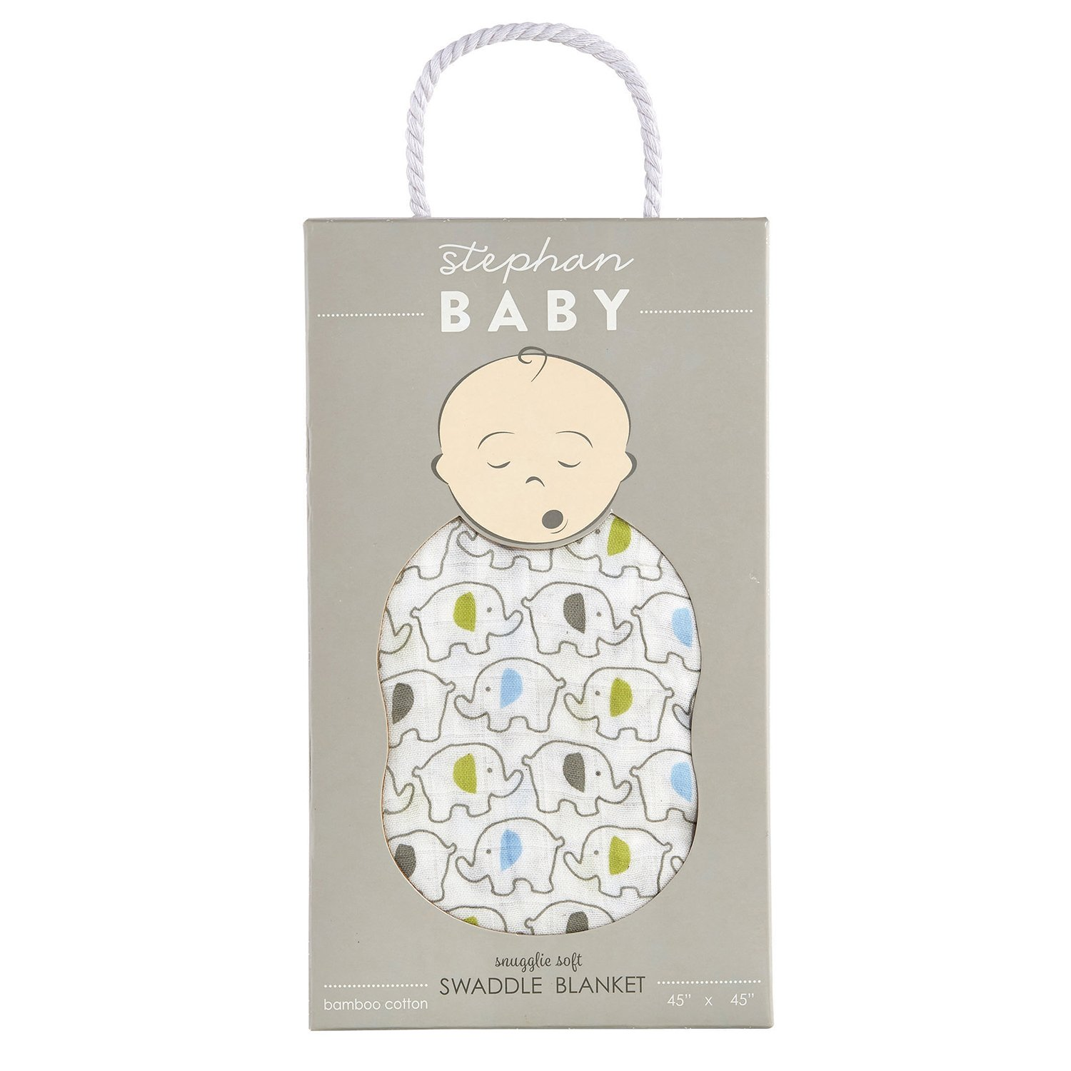 Stephan Baby Viscose Cotton Muslin Swaddle Blanket, Blue Elephants