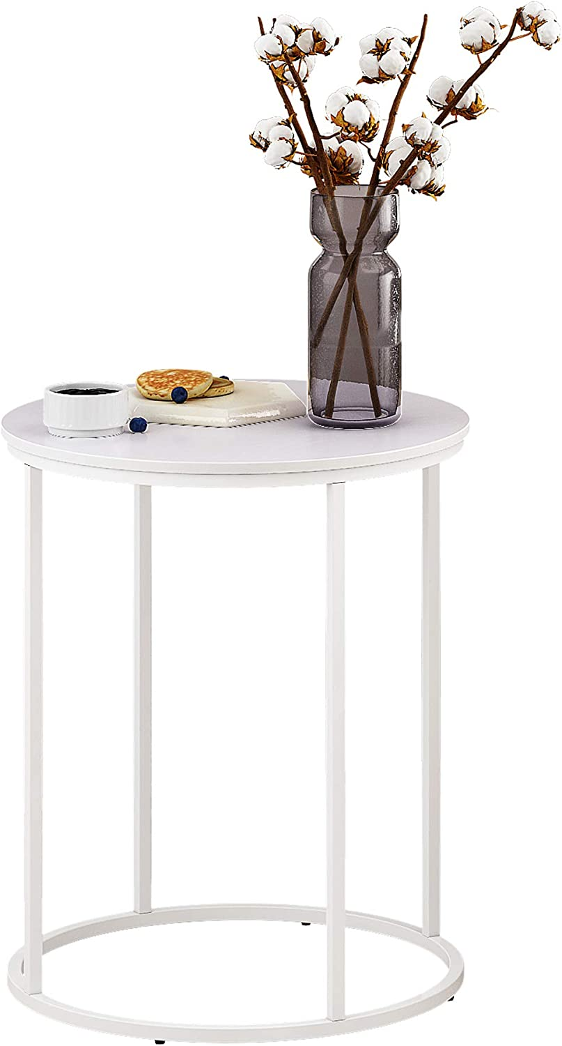 Function HomeRound End Table, Modern Side Table, Sofa Beside Table for Bedroom Living Room in White