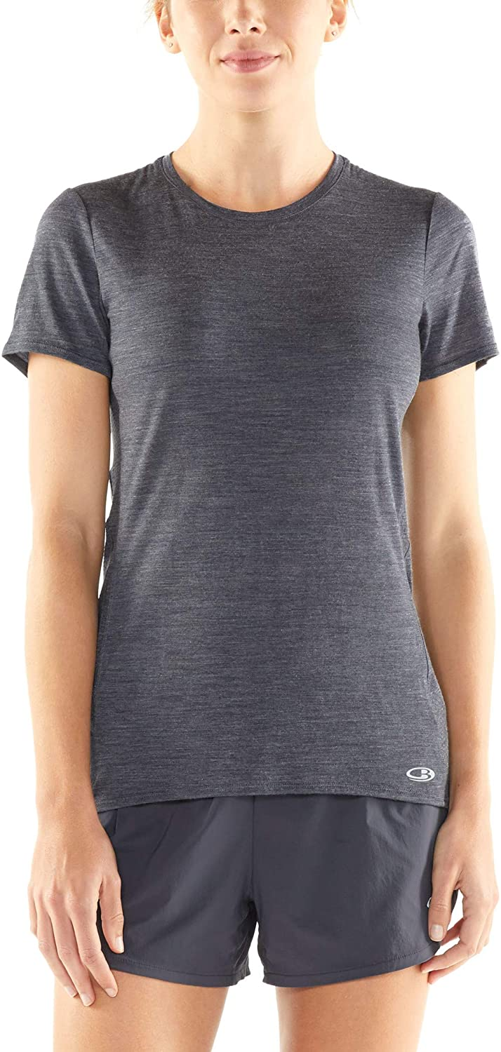 Icebreaker Amplify Short Sleeve Low Crew 104765001S Small Panther HTHR Womens
