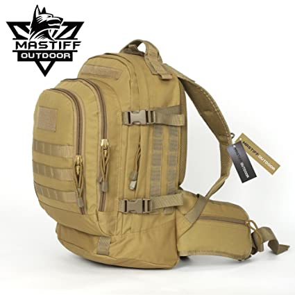 244cee02f Amazon.com : Mastiff Outdoor Expandable Backpack Camping Tactical Military  MOLLE Rucksack TAN : Sports & Outdoors