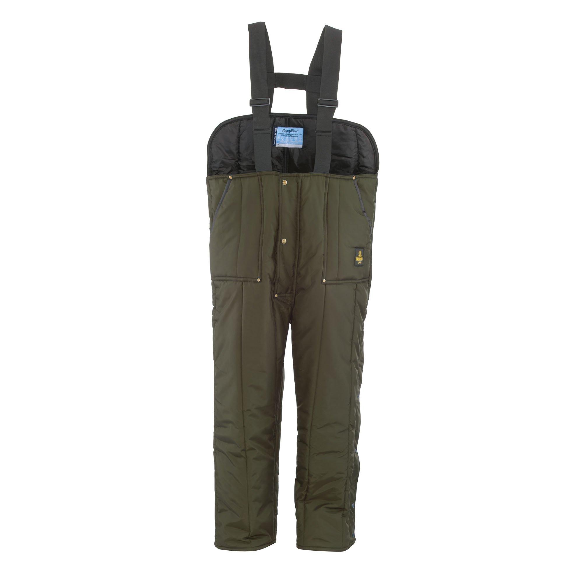 RefrigiWear Men's Iron-Tuff Low Bib Overalls, Sage, 4XL Short