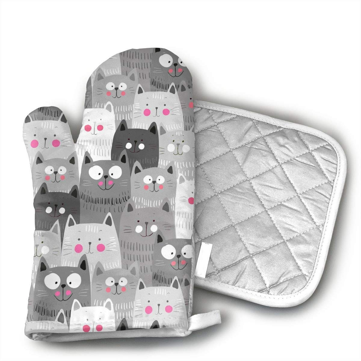 Cute Cats Oven Mitts Kitchen Gloves and Pot Holders 2pcs for Kitchen Set with Cotton Neoprene Silicone Non-Slip Grip,Heat Resistant,Oven Gloves for BBQ Cooking Baking Grilling