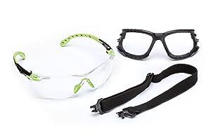 3M Solus 1000-Series Safety Glasses S1201SGAF-KT, Kit, Foam, Strap, Green/Black, Clear Scotchgard Anti-Fog Lens, 20 EA/Case
