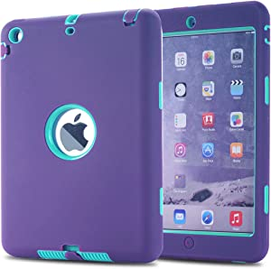 MAKEIT CASE iPad Mini Case iPad Mini 2 Case 3in1 Hybrid Shockproof Case for iPad Mini 1 2 3 Generation (Purple/Light Green)