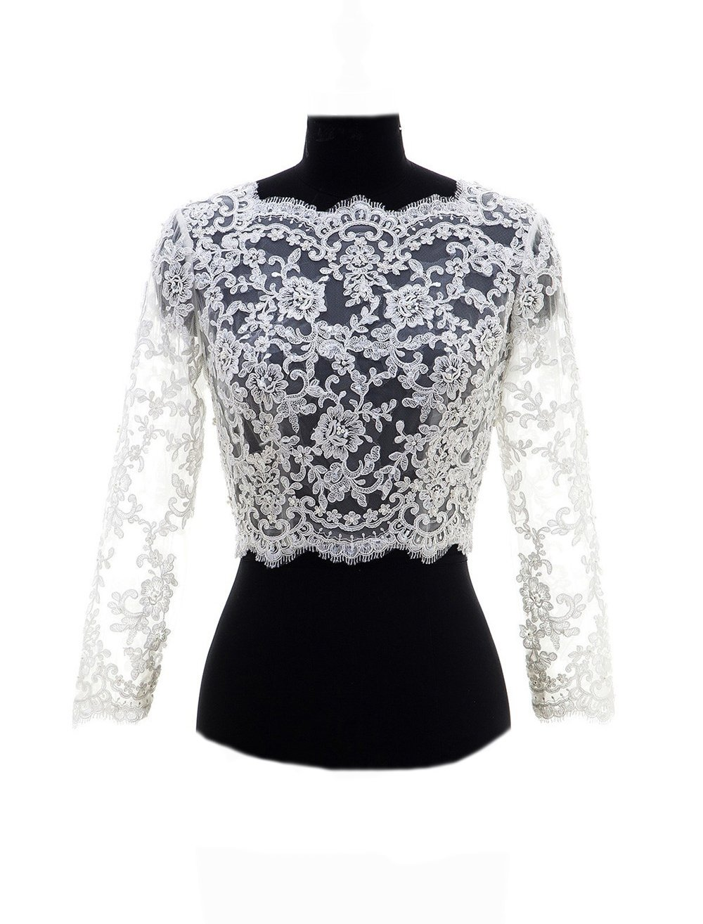 FIDDY898 V Back Beaded Lace Long Sleeve Wedding Jacekt Bridal Bolero Ivory 8