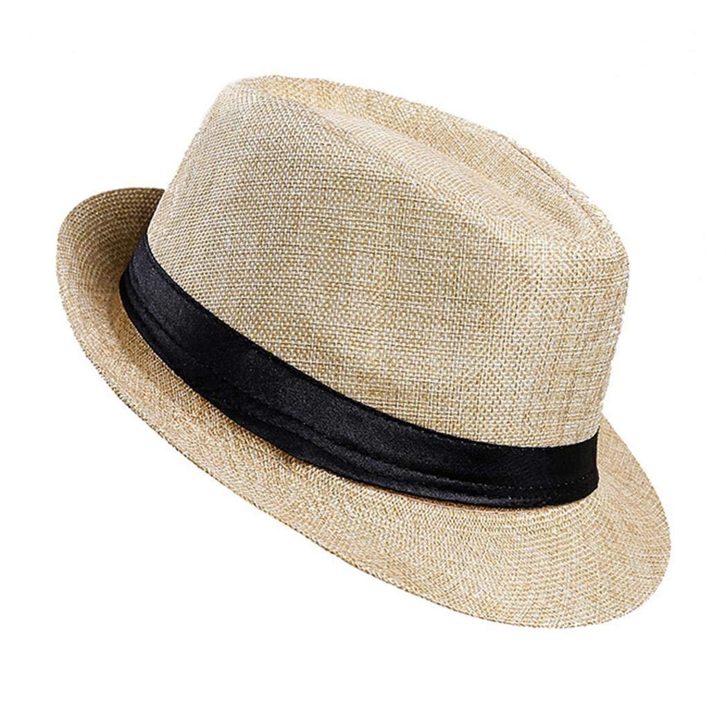 yagot Cappello di Lino da Uomo Visiera Moda Primavera Estate Cappello da Sole Protezione Solare allaperto