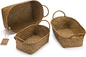 DOKOT Natural Seagrass Storage Baskets with Handles, Hand-Woven Fruit Baskets, Decorative Home Organizer, Small Basket Bins, Set of 3