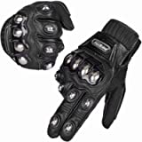 ILM Alloy Steel Leather Hard Knuckle Touchscreen Motorcycle Bicycle Motorbike Powersports Racing Gloves (M, (Leather…